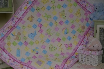 Appliqued Baby Love Quilt image