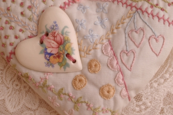 Embroidered Heart Pomander ~ Mini Pattern image