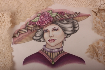 Edwardian Lady Pre-Printed Panel ~ Purple image