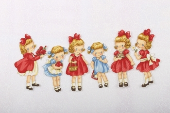 Dolly's Playhouse ~ Fabric Panel Set 6 Dollies image