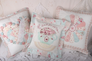 Full Bloom Cushion Set SOLD OUT IN THESE FABRICS KITS AVAIILABLE IN NEW FABRICS