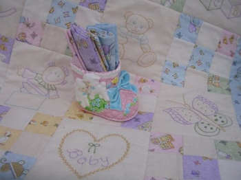 Embrodered Baby Love Quilt